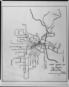 Map of the Los Angeles street railway (streetcar) system, ca.1910 :: California Historical Society Collection, 1860-1960