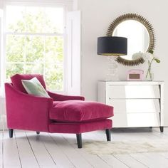 Great reading chair. Love the punch of color [although maybe not this one]. #ReadingChair #PinkChair