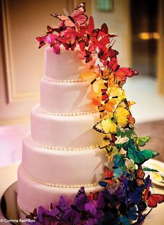 I love this idea, white cake, multi coloured decorations. Awesome.