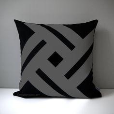 Black & Grey Outdoor Pillow Cover, Modern Pinwheel, Decorative Cushion Cover, Patio Decor, Sunbrella Throw Pillow Case, Mazizmuse