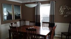 The dining room has a nice chair rail.