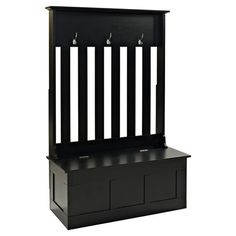 $254.95   ONLY 18 INCHS DEEP.  STORAGE, SEATING, AND HANGING.  Keep your entryway or mudroom stylishly organized with this handsome hall tree. 3 hooks let you hang coats and scarves, while the lower bench offers a spot f...