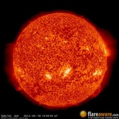 The hourly sun (at 12:44 pm  UTC on 18 April 2013)