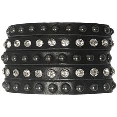 Rock Shop Studded Stacked Leather Bracelet ❤ liked on Polyvore featuring jewelry, bracelets, stackers jewelry, snap button jewelry, leather bangles, stackers jewellery and snap jewelry
