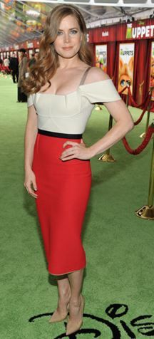 Who made Amy Adams' red skirt and nude top that she wore in Los Angeles on November 12, 2011?