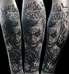 50 Cool Joker Tattoos for Guys - Sleeve - J Tattoo, Forarm Tattoos, Tatuajes Tattoos, Forearm Sleeve Tattoos, Best Sleeve Tattoos, Mom Tattoos, Tattoo Sleeve Designs, Arm Tattoos For Guys, Tattoo Designs Men