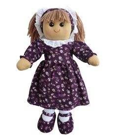 Powell Craft purple floral corduroy dress rag doll on Zulily.
