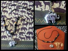 Elephant Pendant Necklace // Black Cord // Animal Themed // Silver // SRAJD