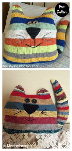 Baby Knitting Patterns, Easy Sewing Patterns, Loom Knitting, Free Knitting, Knitted Cat, Knitted Animals, Sewing To Sell, Cat Cushion, Cat Pillow