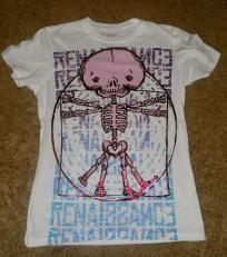 Junior Size Large Pink Skeleton T-Shirt NWOT Free Shipping