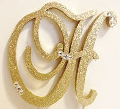 Gold Dazzling Sparkle Monogram Cake Topper with by LLBridalDesigns, $34.50