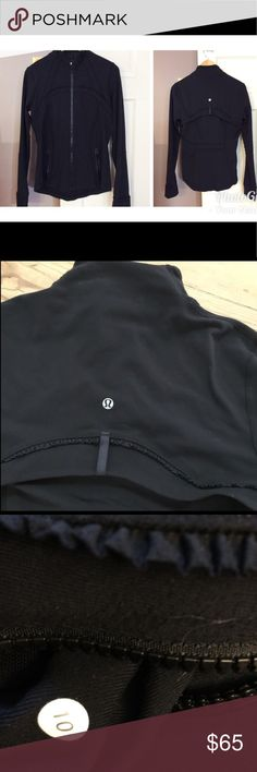 Lululemon black jacket Cute jacket with ruffle details. There is a flip vent in the back to release the sweat when running. Size 10. No pilling, great used condition. lululemon athletica Jackets & Coats