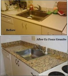 a simple fix for drab counter tops with | faux granite