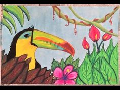 A quick progression of an oil pastel drawing involving a jungle scene and toucan. This was part of a lesson on Henri Rousseau. Oil Pastel Art, Oil Pastel Drawings, Oil Pastels, Jungle Scene, Jungle Art, Jungle Activities, Art Activities, 2nd Grade Art, Henri Rousseau