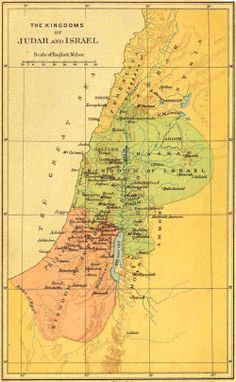 Divided Kingdom of Israel and Judah // Jews and Joes Israel, Bible Mapping, Bible School Crafts, Jewish History, History Books, Christian School, Old Maps, Spiritual Warfare, Vintage World Maps