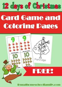 Your kids will have tons of fun with this printable 12 Days of Christmas card game!