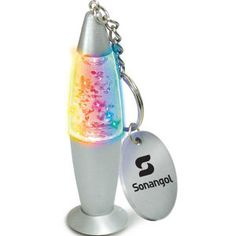 GlitterGlow keychain. Color-changing LED creates a cool light effect. Glitter is illuminated by the light when you swirl the keychain. Twist on/twist off.