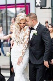 Romantic bride and groom wedding photo | Ultra Glamorous New York Wedding
