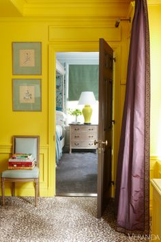 nick olsen, lacquered walls, silk drapes, purple drapes, cheetah rug, yellow walls