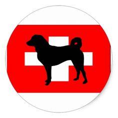 Appenzeller Sennenhund silo switzerland flag.png Classic Round Sticker