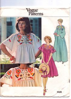 70s Vogue Pattern 1428 Top or Dress with Embroidery by CloesCloset