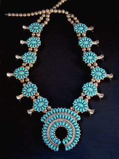 in my dream I am singing Sweet Lorraine on a stage in an empty auditorium, I feel the warmth of a spot light on my face & when I lean forward I feel the weight of this necklace against my chest. Jewelry Box, Jewelery, Squash Blossom Necklace, Ethnic Jewelry, Native American Jewelry, Turquoise Jewelry, Statement Jewelry, Beautiful Necklaces, Navajo
