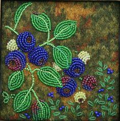 Large photo of Blue Berry Beaded Flowers Patterns, Native Beading Patterns, Beadwork Designs, Bead Embroidery Patterns, Native Beadwork, Bead Loom Patterns, Beaded Jewelry Patterns, Beaded Embroidery, Indian Beadwork