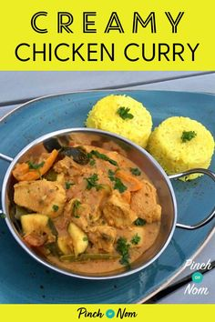 Creamy Chicken Curry - Pinch Of Nom Slow Cooker Recipes, Cooking Recipes, Healthy Recipes, Cooking Ideas, Food Ideas, Healthy Food, Creamy Chicken Curry, Indian Food Recipes, Ethnic Recipes