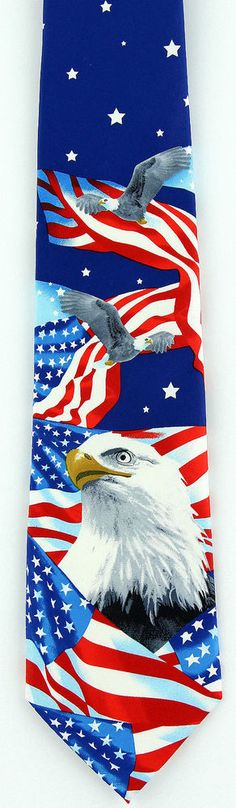 Sun Moon Stars /& Stripes Red White Blue Patriotic American Eagle Vintage Celestial Tie Made in USA Casual Cotton Necktie