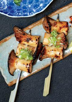 Vegan Yakitori recipe: Trumpet mushrooms stand in for meat.