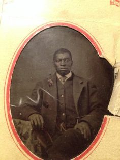 Black African American Tintype with Tinted Flower on Lapel | eBay