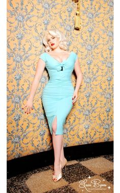 9ca6a3568b569 Curve Hugging Tie-Front Wiggle Dress with Front Slit in Baby Blue