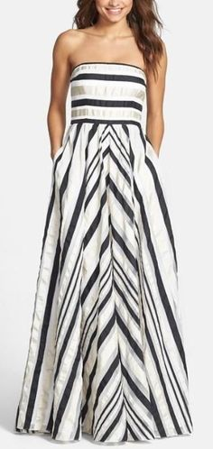 Adrianna Papell Ribbon Stripe Strapless Dress available at I have no occasion to wear this to but I love the look. Estilo Fashion, Fashion Mode, Look Fashion, Fashion Beauty, Fashion Ideas, Pretty Prom Dresses, Cute Dresses, Beautiful Dresses, Summer Dresses