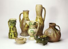 This group of pottery, all found in London, is a small selection of a range of ordinary kitchen and tableware available to Londoners in the late 13th and early 14th centuries