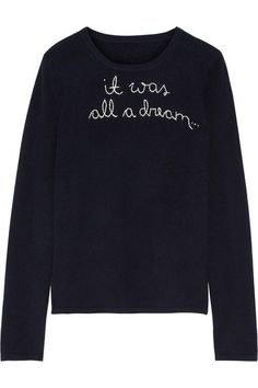 Lingua Franca | It Was All A Dream embroidered cashmere sweater | NET-A-PORTER.COM