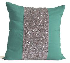 Teal Decorative Pillow Cushion Cover Teal Pillow by AmoreBeaute