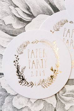 Oh So Beautiful Paper: Paper Party 2014! Gold Foil Coasters from For Your Party and designed by Mr. Boddington's Studio, Photo Credit: Charlie Juliet Photography #paperparty2014