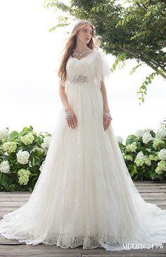 モード・マリエ No.66-0002   Beauty Bride(ビューティーブライド)ロマンティックでフエミニンなギャザースリーブ。妖精のような透明感あふれる、可愛い立ち姿を約束します。(レースボレロ取り外し可能)