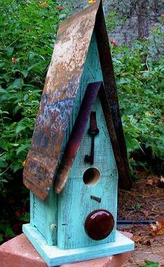 Barn Wood Tin Reclaimed Birdhouse - Gardening In The Rain Bird Houses Painted, Decorative Bird Houses, Bird Houses Diy, Bird House Plans, Bird House Kits, Homemade Bird Houses, Birdhouse Designs, Birdhouse Ideas, Rustic Birdhouses