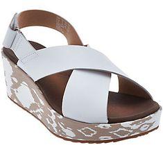 e774027e436 Clarks Leather Cross Band Wedge Sandals - Stasha Hale