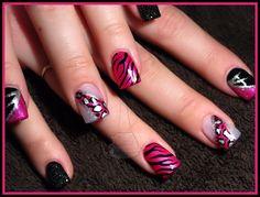 Pink, Black & Silver Animal Print - Nail Art Gallery