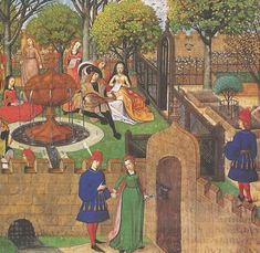 Medieval Gardens - Flemish illustration of the Romance of the Rose c. 1485