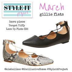 Super excited to launch Style it Project March with me and @theillusivefemme. Our key item is a pair of gillie flats, and our hero piece is the Tiffy Lace Up Flat from Target. Please join us! Just buy it, style it, wear it, snap it, share it!