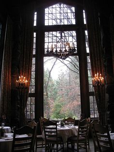 Julia Morgan dining room.  Looking out the enchanting Ahwahnee to the spring flowering in Yosemite!
