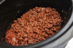 Easy Crock Pot Sloppy Joes! I would put less onion next time, and some cinnamon and red chili powder. Super awesome though!!