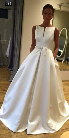 Elegant satin bateau neckline A-line wedding dress with .- Elegantes Satin Bateau-Dekolletee A-Linie Hochzeitskleid mit Bowknot & Taschen … Elegant satin bateau cleavage A-line wedding dress with bowknot & pockets – wedding dress - Long Wedding Dresses, Elegant Wedding Dress, Perfect Wedding Dress, Bridal Dresses, Gown Wedding, Bateau Wedding Dress, Wedding Bride, Wedding Ideas, Lace Wedding
