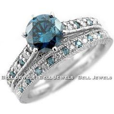 R512 Blue Diamond Matching Rings 14k White Gold Set Antique Design