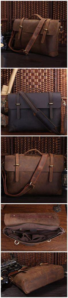 Vintage Briefcase Crazy Horse Leather Shoulder Messenger Bag Handmade Satchel W07082 Laptop Briefcase, Briefcase For Men, Leather Briefcase, Laptop Bag, Crazy Horse, Canvas Leather, Messenger Bag, Satchel, Tote Bag