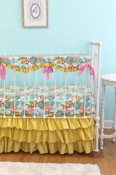 Bumperless Baby Girl Crib Bedding -  Lilly Belle via Etsy
