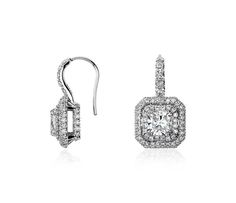 Cushion-Cut Diamond Double Halo Drop Earrings in 18k White Gold  | #Jewelry #Style #Glamour